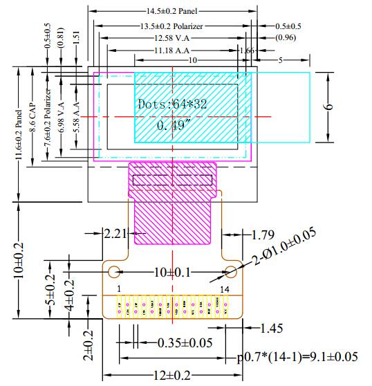 58 (mm)  控 制 器:ssd1306  接口方式:iic  操作温度:-40~ 85°c  存