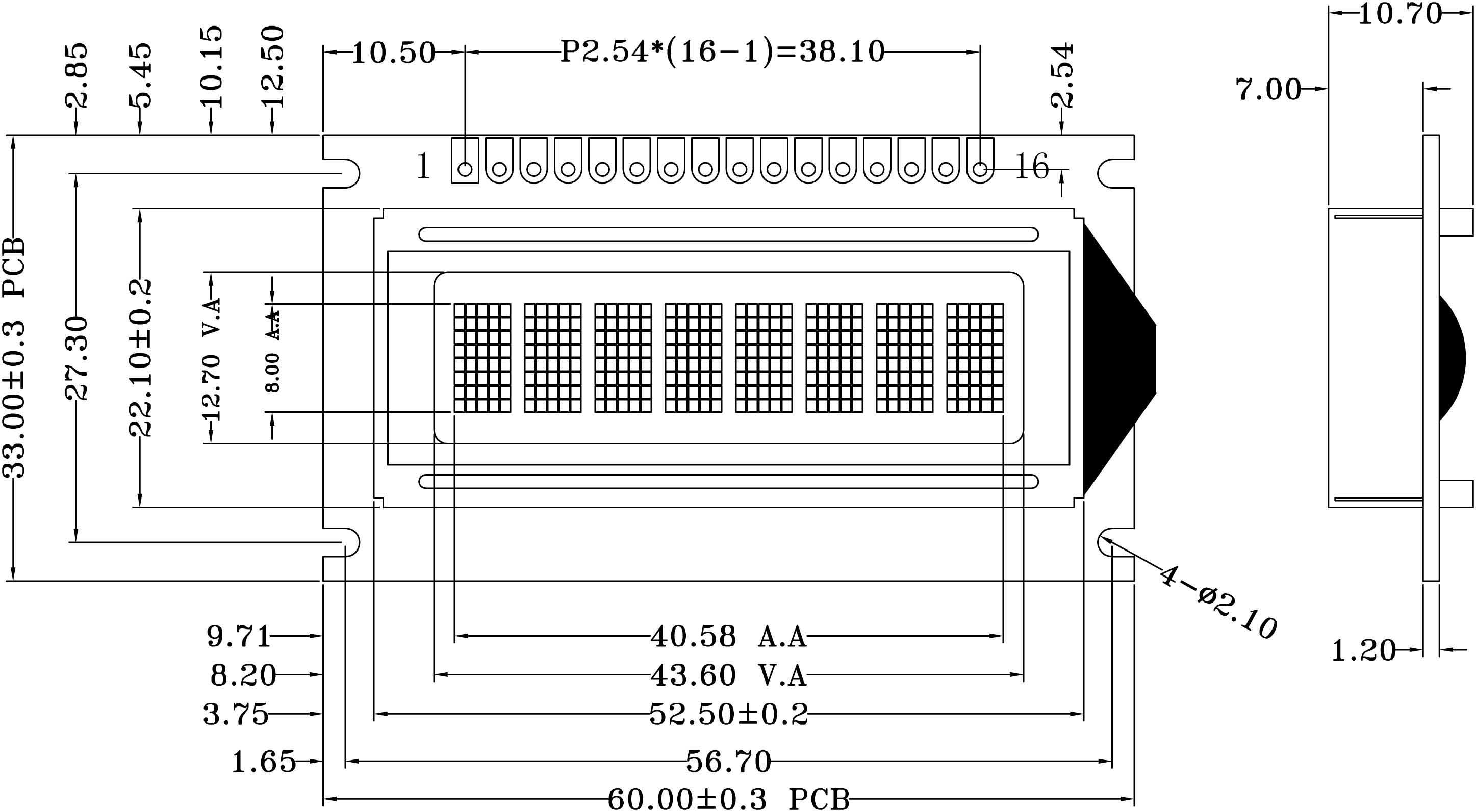 YB0801A资料下载: 字符数:8X1 模组尺寸:60.0x33.0x10.7mm 视域尺寸:43.6x12.7mm LCD模式:STN黄绿 背光类型:LED黄绿 控 制 器:SPLC780 电 压 :3.3V/5.0V 接口方式:6800 serial 8-Bit/4-Bit MPU Interface 工作温度:-20~+70C 储存温度:-30~+80C YB0801A 可以显示 1 行,每行 8 个英文、数字、符号,并可选择日文、俄文、以色列文、希腊文等文字(注俄文、以色列文、希腊文需订制)。并