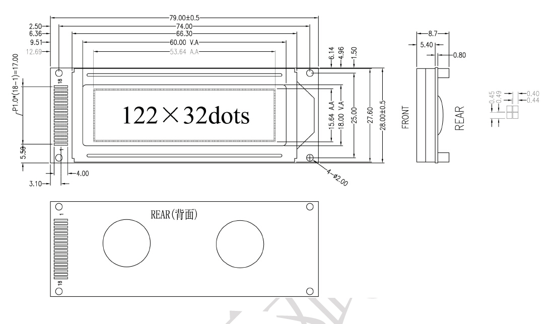 YB12232ZE1资料下载: 点阵数:122x32 模组尺寸:79X28X8.9mm 视域尺寸:60.0X18.0mm LCD模式:STN/FSTN LCD颜色:(蓝膜,黄绿膜,灰膜可任选) 背光类型:LED 控 制 器: ST7920 or EQV 电 压 :3.3V/5.0V 接口方式: 8-bit parallel, 4-bit parallel and Serial interface 字库类型:简体/繁体/中日韩 操作温度:-20~+70C 存储温度:-30~+80C YB12232ZE1采
