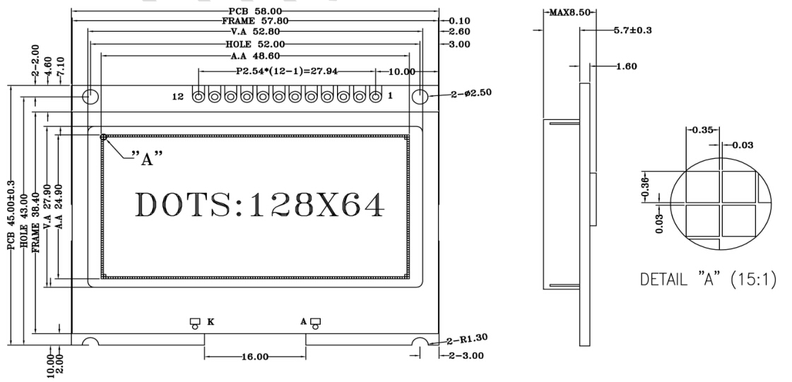 YB12864COG-A1资料下载: 点阵数:12864 模组尺寸:58458.5mm 视域尺寸:52.827.9mm 产品规格:FSTN 产品颜色:(蓝膜,黄绿膜,灰膜可任选) LED背光:LED LCD控制器:ST7567 电 压:3.3V/5.0V 接口方式:4-SPI串口 可视范围: 6:00 升压方式:内部软件升压 字库类型:可选择带中文字库 操作温度:-20~+70C 存储温度:-30~+80C YB12864COG-A1是一款128x64点阵单色图型液晶模块,内置ST7567控制器,4-SP